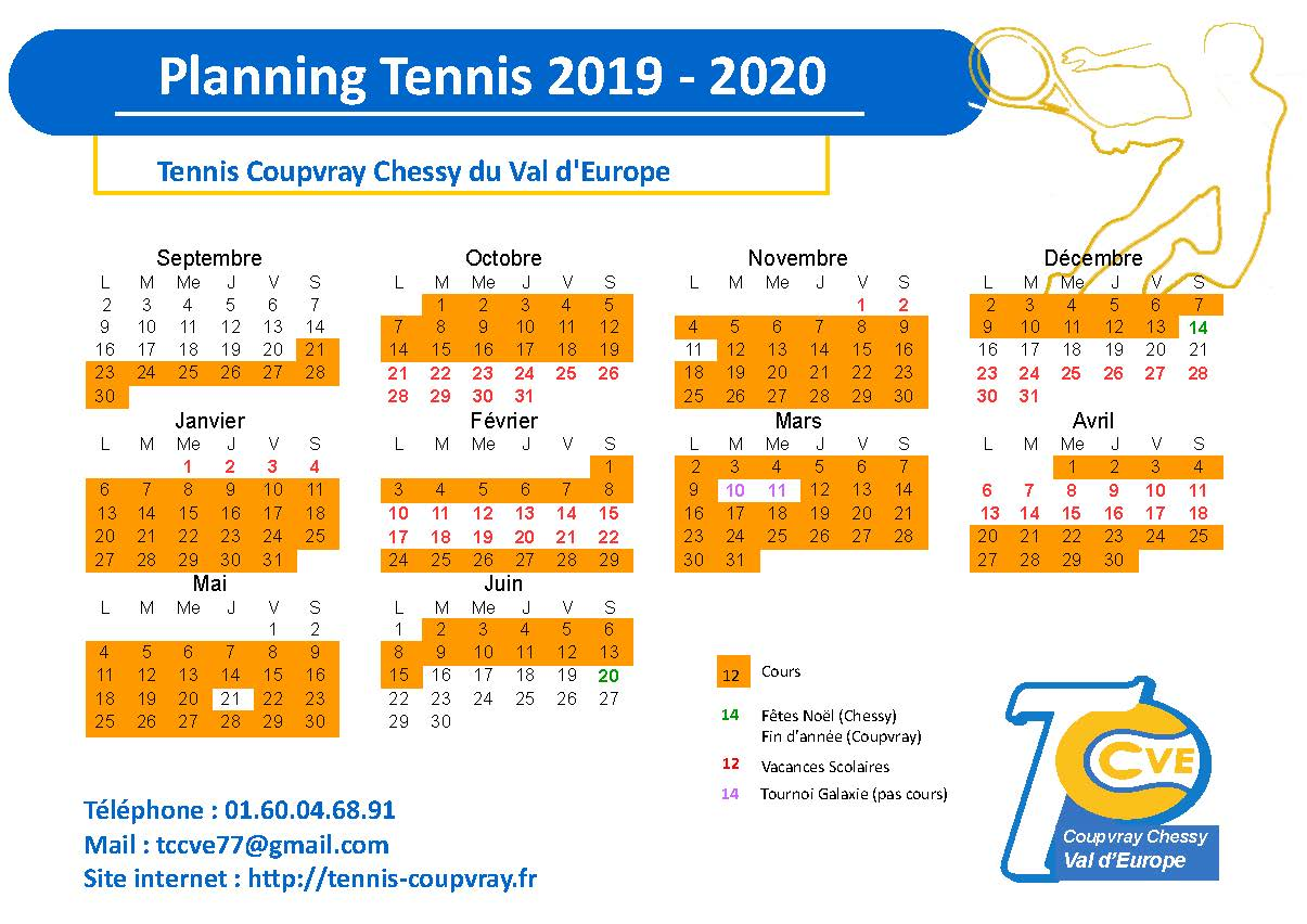 Calendrier Magny Cours 2020.Calendrier Des Cours 2019 2020 Tennis Club Coupvray Chessy